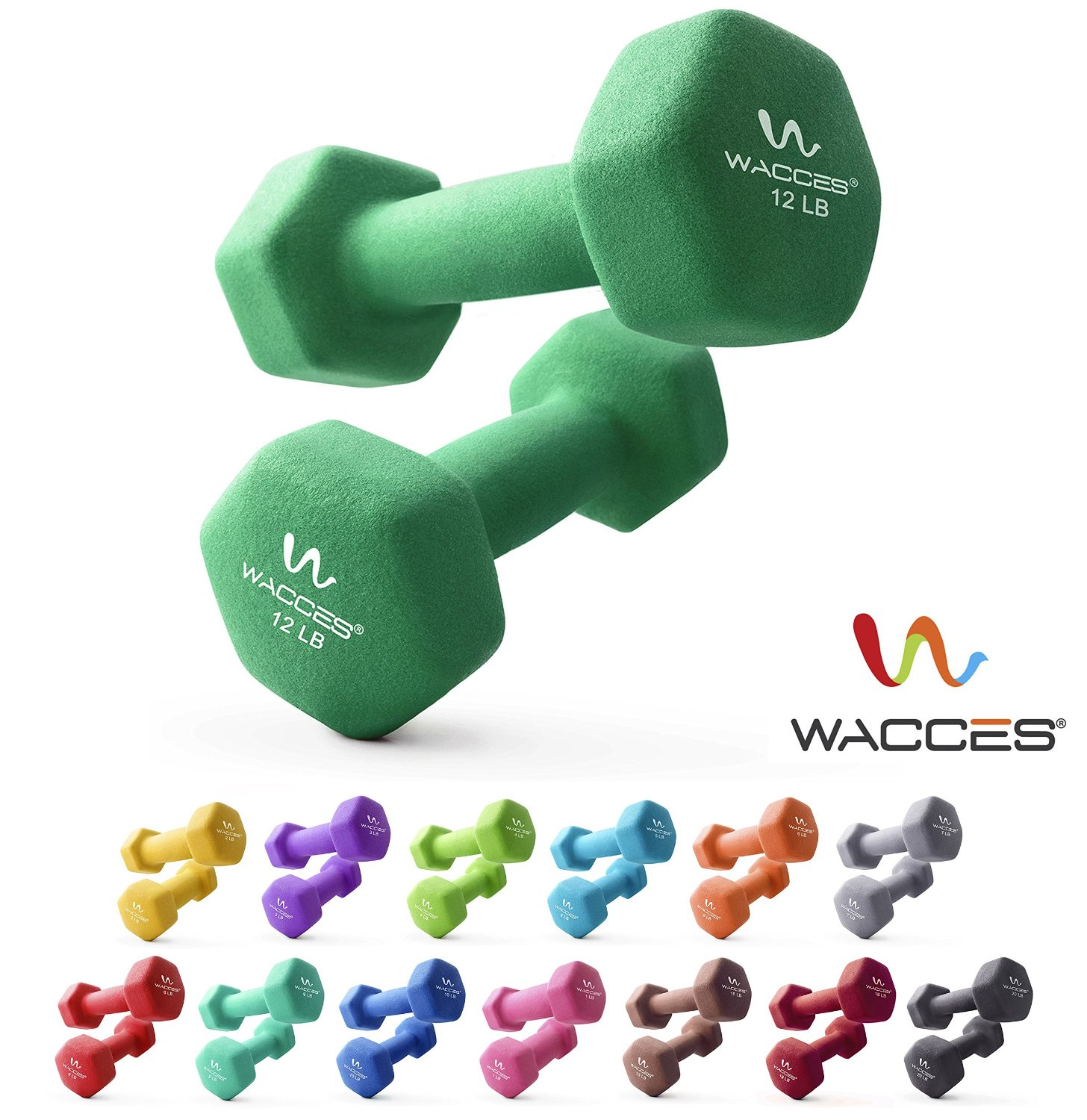 Wacces Neoprene Dipped Coated Set of 2 Dumbbells Hand Weights Sets